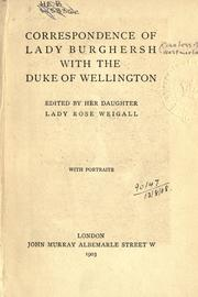 Cover of: Correspondence of Lady Burghersh with the Duke of Wellington