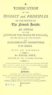 Cover of: A vindication of the conduct and principles of the printer of the Newark Herald