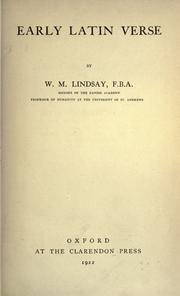 Early Latin verse by W. M. Lindsay