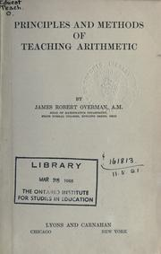Cover of: Principles and methods of teaching arithmetic
