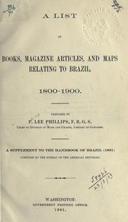 Cover of: A list of books, magazine articles, and maps relating to Brazil: 1800-1900.
