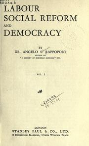 Cover of: Labour, social reform and democracy