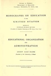 Cover of: Monographs on education the United States