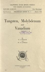 Cover of: Tungsten, molybdenum and vanadium