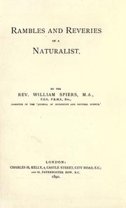 Cover of: Rambles and reveries of a naturalist |