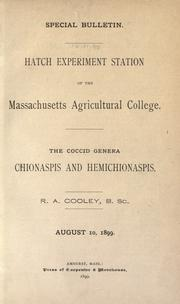 Cover of: The coccid genera Chionaspis and Hemichionaspis