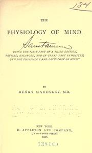 Cover of: The physiology of mind