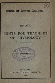 Cover of: Hints for teachers of physiology