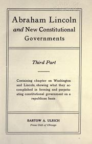Cover of: Abraham Lincoln and constitutional government