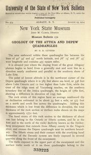 Cover of: Geology of the Attica-Depew quadrangles