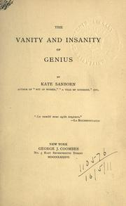 Cover of: The vanity and insanity of genius