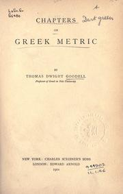Cover of: Chapters on Greek metric