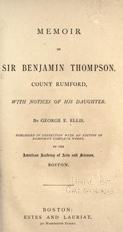 Cover of: Memoir of Sir Benjamin Thompson