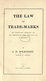 Cover of: The law of trade-marks