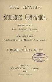 Cover of: The Jewish student's companion
