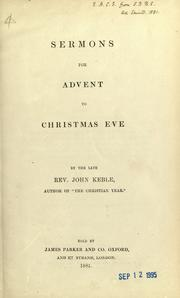 Cover of: Sermons for Advent to Christmas Eve