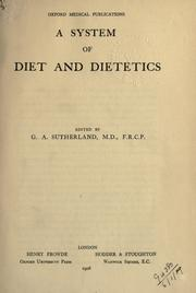 Cover of: A system of diet and dietetics