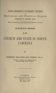 Cover of: Church and state in North Carolina; by Stephen Beauregard Weeks