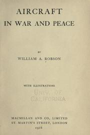 Cover of: Aircraft in war and peace