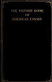 Cover of: The Oxford book of American essays by