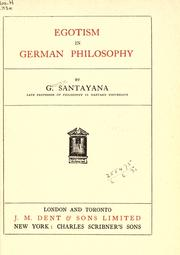 Cover of: Egotism in German philosophy