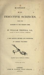 Cover of: History of the inductive sciences