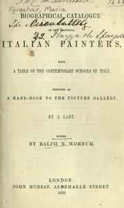 Cover of: Biographical catalog of the principal Italian painters