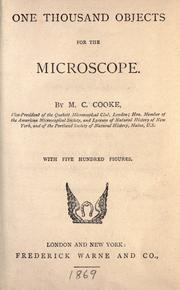 Cover of: One thousand objects for the microscope