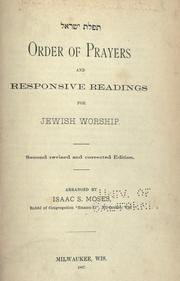 Cover of: Order of prayers and responsive readings for Jewish worship | Siddur (Reform, Central Conference of American Rabbis)