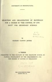 "Cover of: Selection and organization of materials for a course in ""the control of conduct"" for secondary schools"