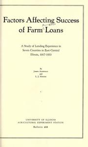 Cover of: Factors affecting success of farm loans