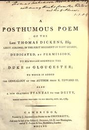 Cover of: A posthumous poem of the late Thomas Dickens