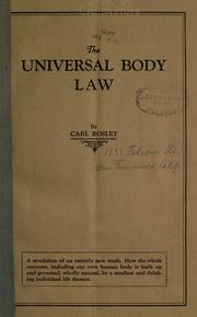 Cover of: The universal body law