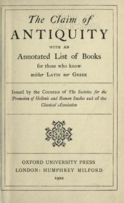 Cover of: The claim of antiquity