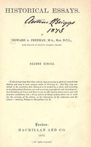 Historical essays by Edward Augustus Freeman