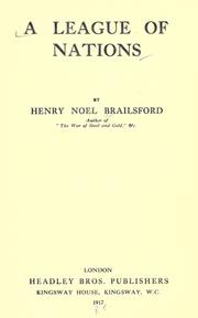 Cover of: A league of nations