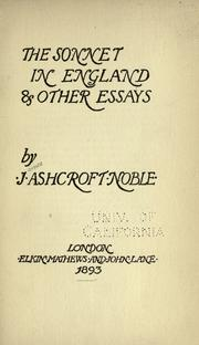 Cover of: The sonnet in England, & other essays