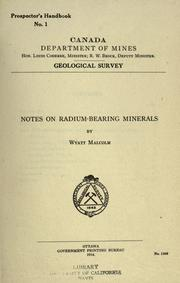 Cover of: Notes on radium-bearing minerals