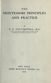 Cover of: The Montessori principles and practice