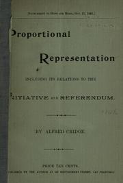 Cover of: Proportional representation