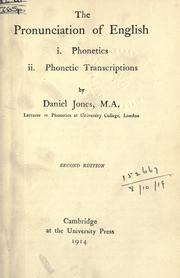 Cover of: The pronunciation of English