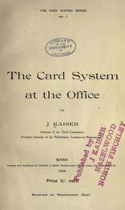 Cover of: Card system at the office