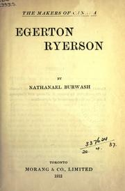 Cover of: Egerton Ryerson