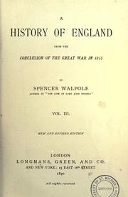 Cover of: A history of England from the conclusion of the great war in 1815