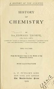 Cover of: The history of chemistry