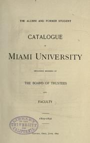 Cover of: The alumni and former student catalogue of Miami university