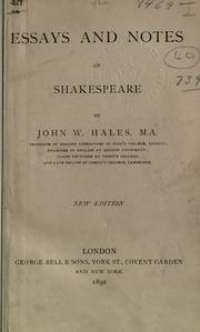 Cover of: Essays & notes on Shakespeare