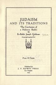 Cover of: Judaism and its traditions