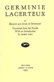 Cover of: Germinie Lacerteux by Edmond de Goncourt