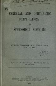 Cover of: Cerebral and ophthalmic complications in sphenoidal sinusitis